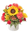 A 4.75in  round embossed design cement container holds an all around arrangement with sunflowers, roses, carnations, mini carnations, hypericum, and solidago. 13in H x 12in W