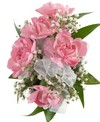 A corsage with five pink mini carnations and babies breath. Designed as a wrist corsage, but can be converted to a pin on corsage with included pins.