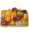 A 12in  tray basket holds an assortment of fresh fruit and chocolates.